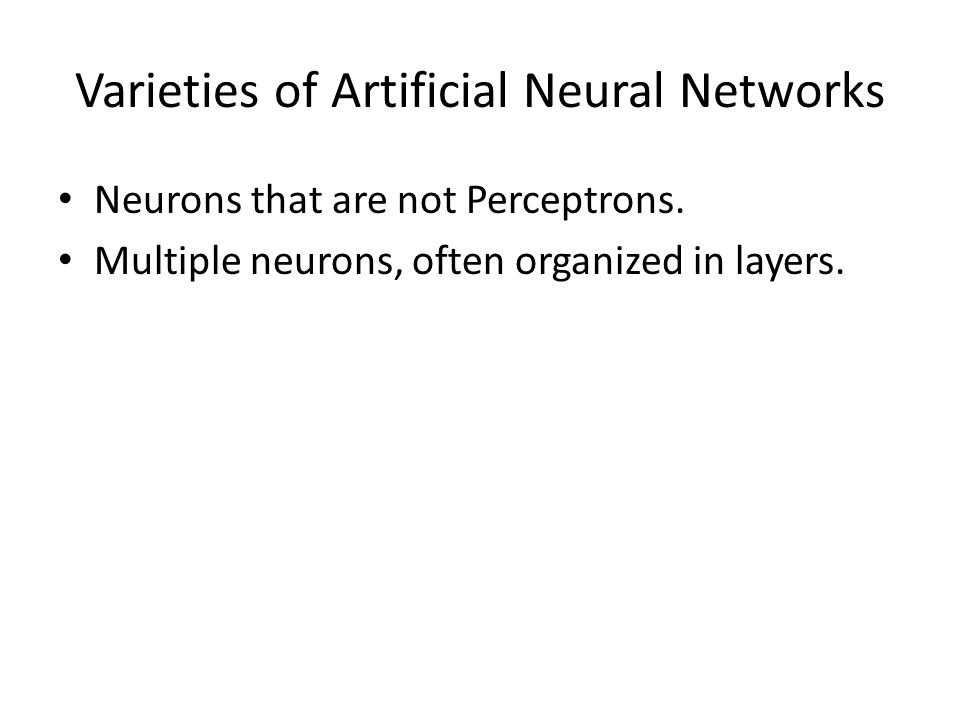 Varieties of Artificial Neural Networks