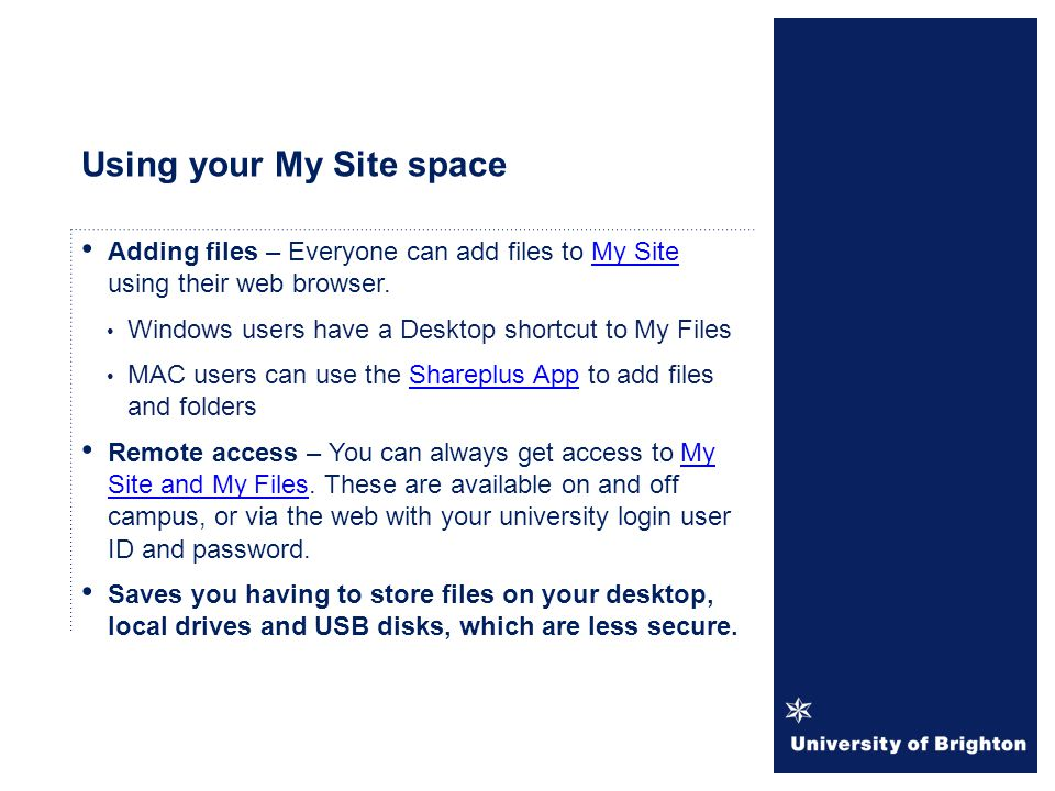 Using your My Site space
