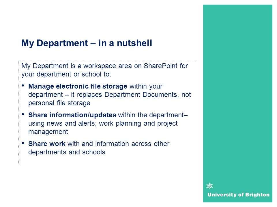 My Department – in a nutshell