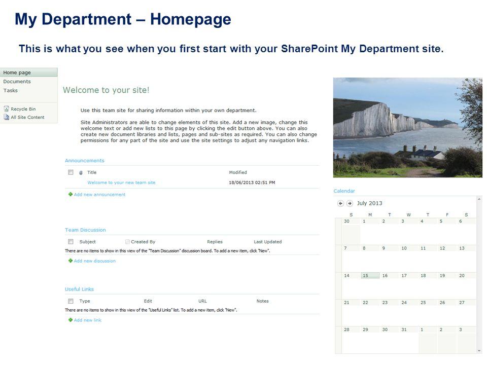 My Department – Homepage