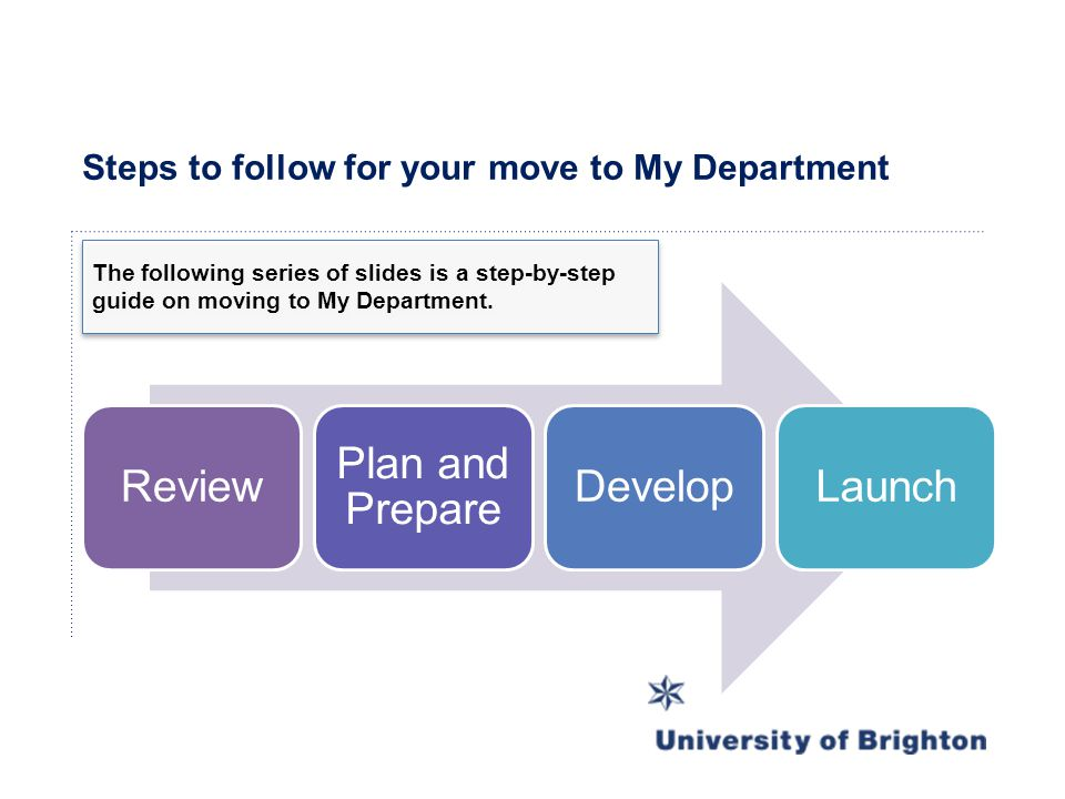 Steps to follow for your move to My Department