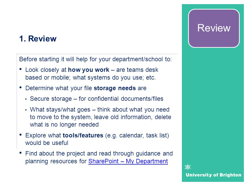 Review 1. Review. Before starting it will help for your department/school to: