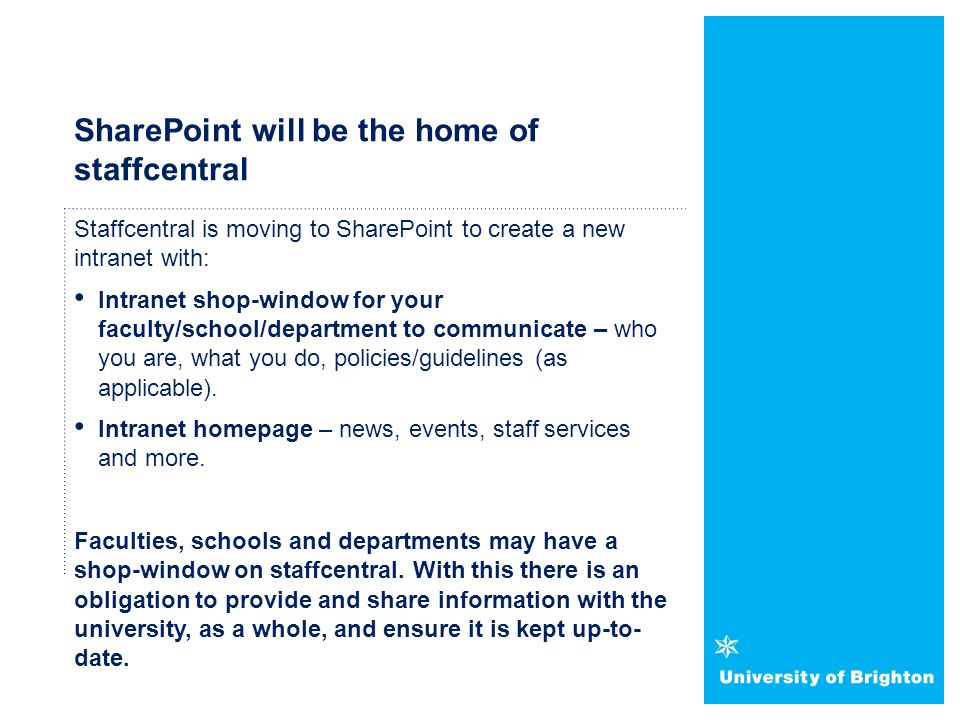 SharePoint will be the home of staffcentral