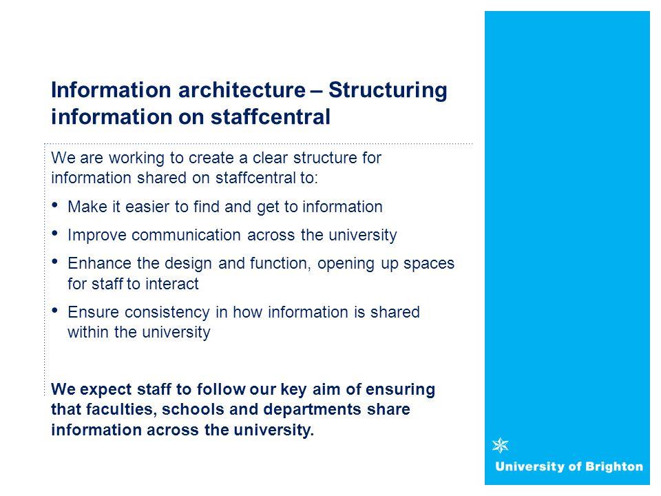 Information architecture – Structuring information on staffcentral