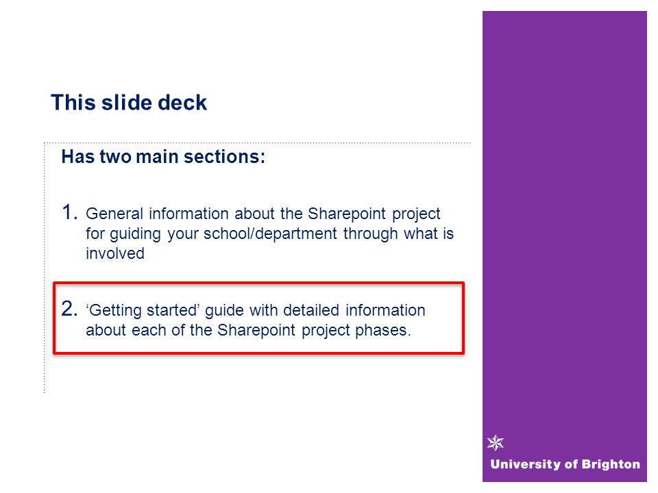 This slide deck Has two main sections: