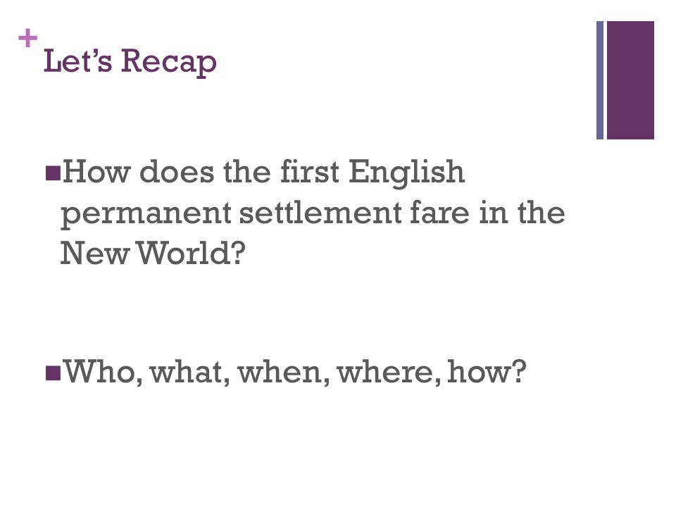 Let's Recap How does the first English permanent settlement fare in the New World.