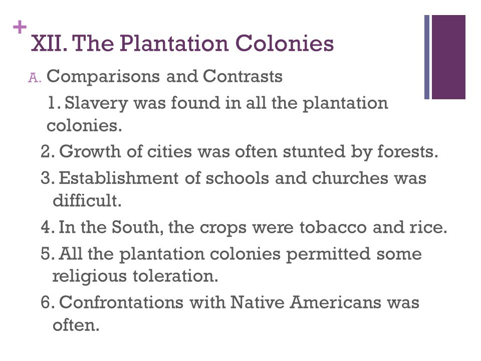XII. The Plantation Colonies