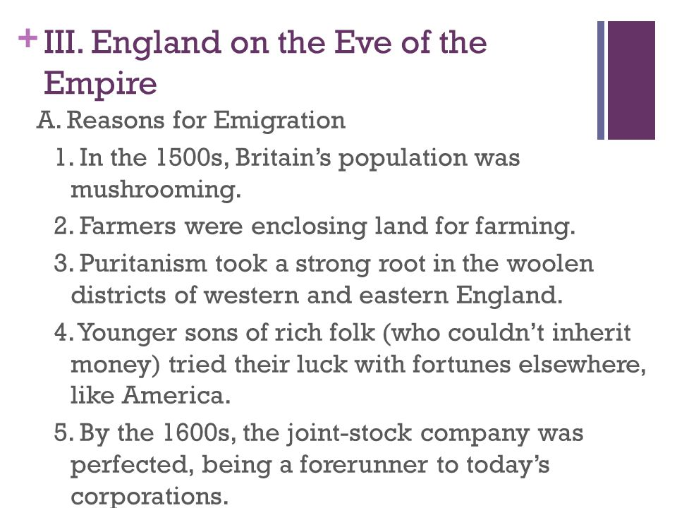 III. England on the Eve of the Empire