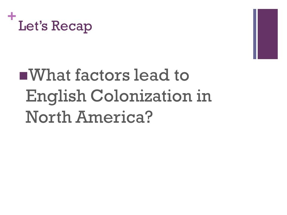 What factors lead to English Colonization in North America