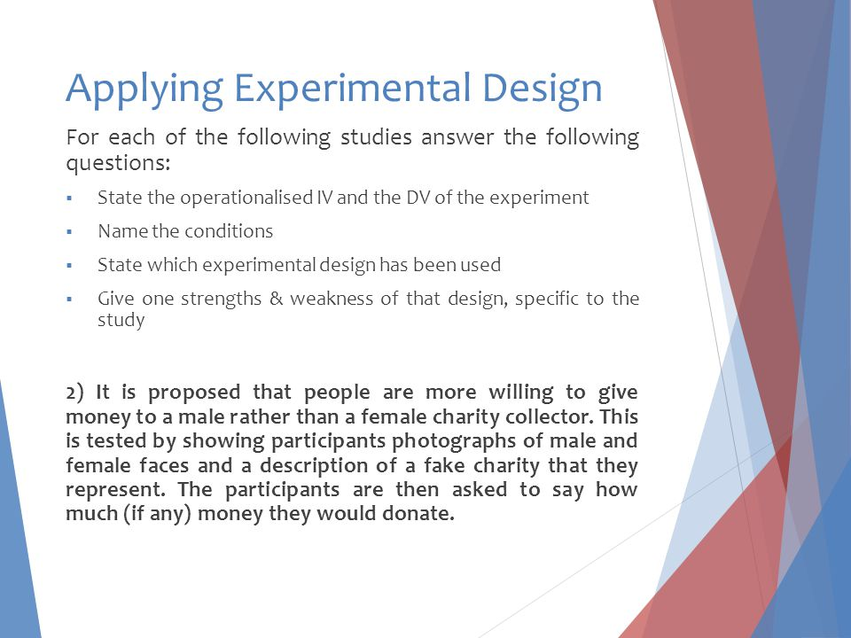 Applying Experimental Design