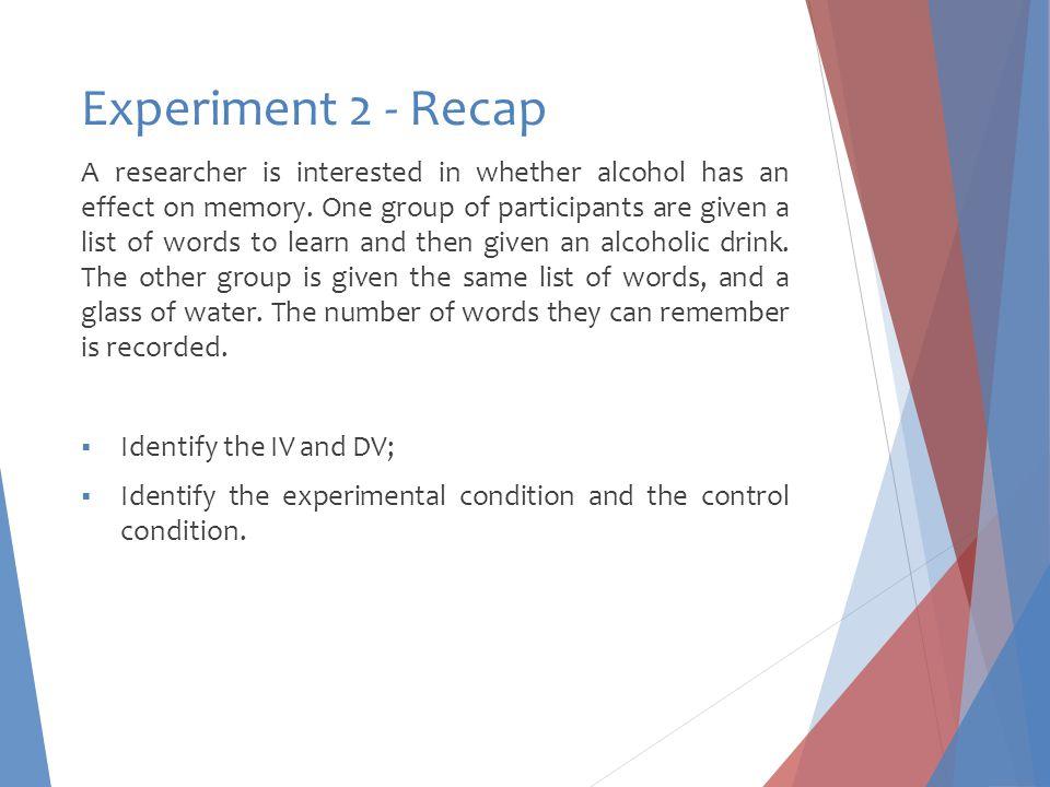 Experiment 2 - Recap