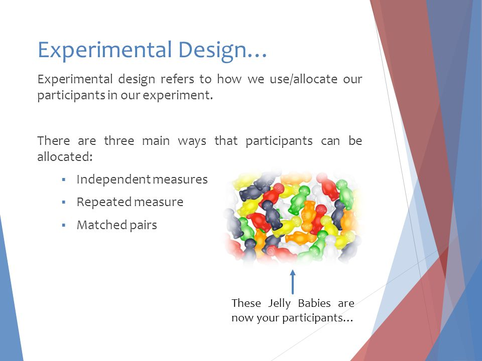 Experimental Design… Experimental design refers to how we use/allocate our participants in our experiment.