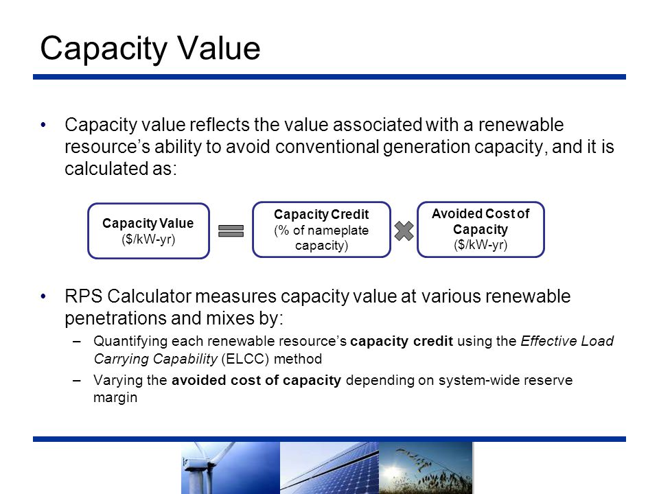 Avoided Cost of Capacity