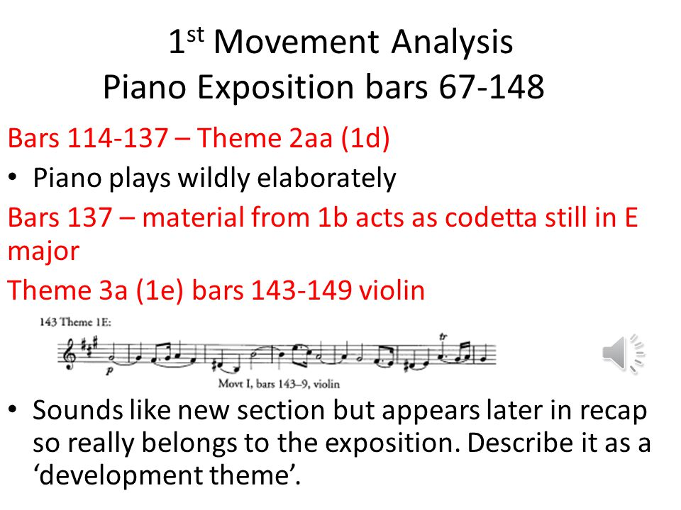 1st Movement Analysis Piano Exposition bars 67-148