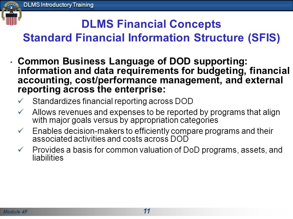 DLMS Financial Concepts Standard Financial Information Structure (SFIS)