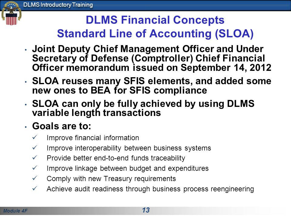 DLMS Financial Concepts Standard Line of Accounting (SLOA)