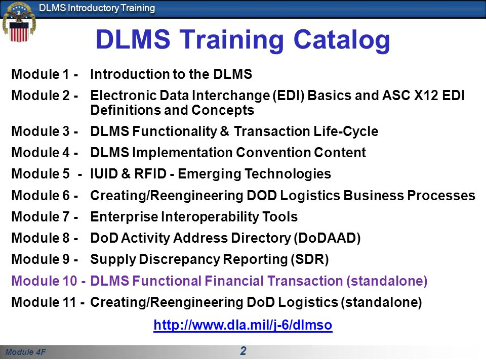 DLMS Training Catalog Module 1 - Introduction to the DLMS