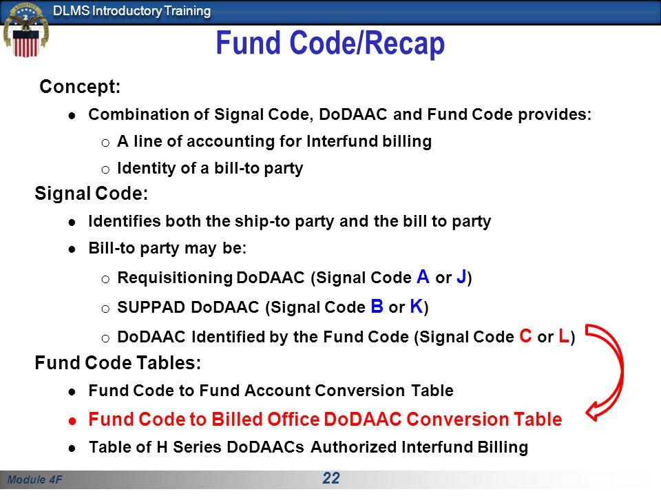 Fund Code/Recap Concept: Signal Code: Fund Code Tables:
