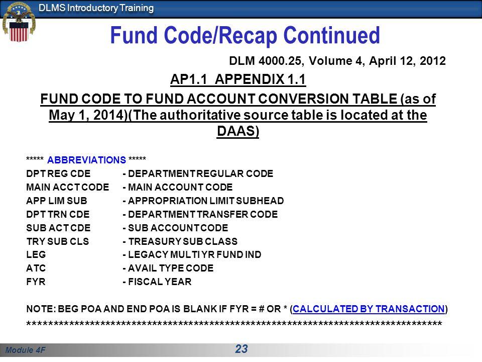 Fund Code/Recap Continued
