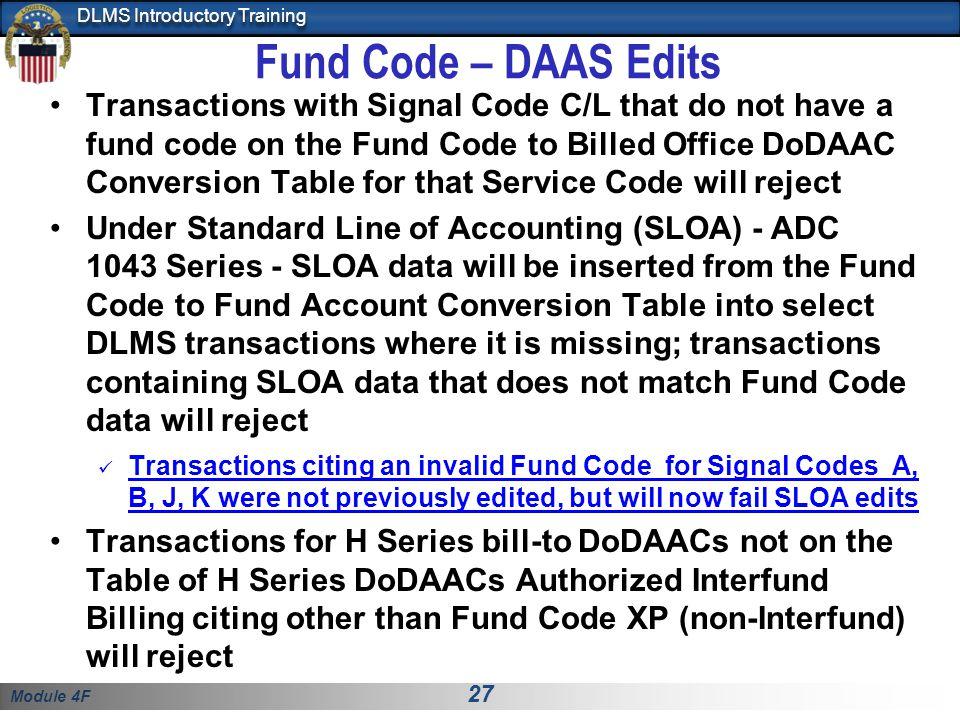 Fund Code – DAAS Edits