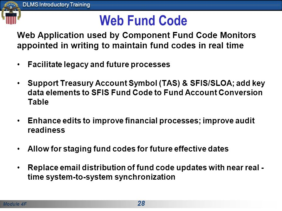 Web Fund Code Web Application used by Component Fund Code Monitors appointed in writing to maintain fund codes in real time.