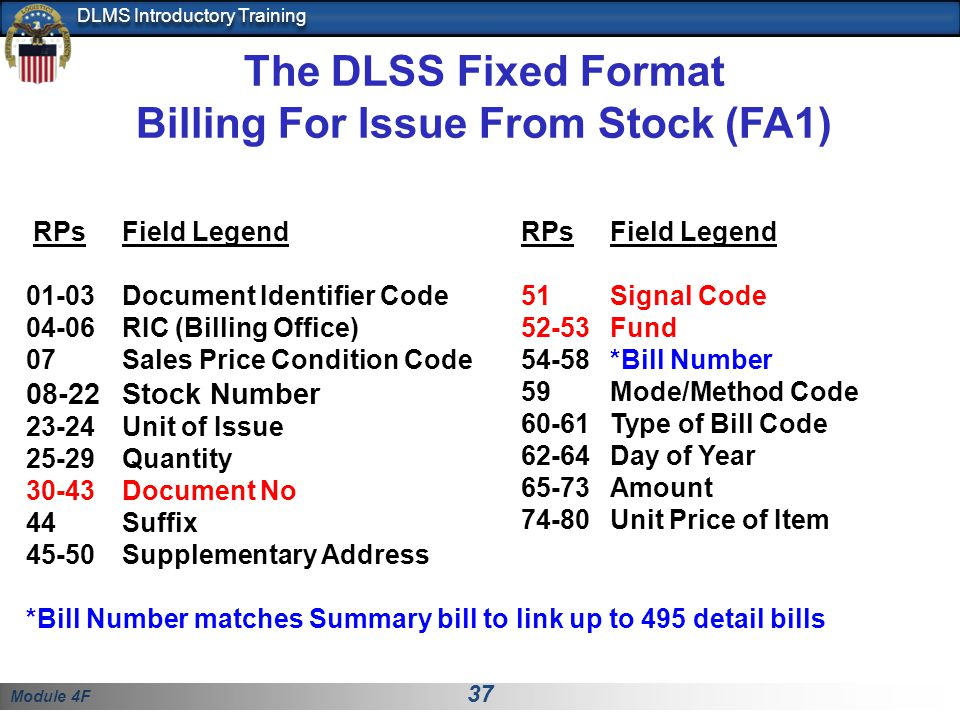 The DLSS Fixed Format Billing For Issue From Stock (FA1)