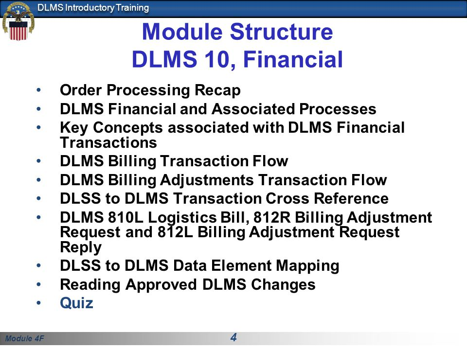 Module Structure DLMS 10, Financial