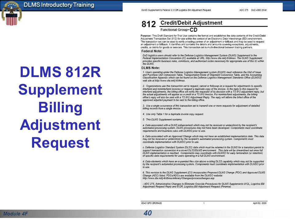 DLMS 812R Supplement Billing Adjustment Request