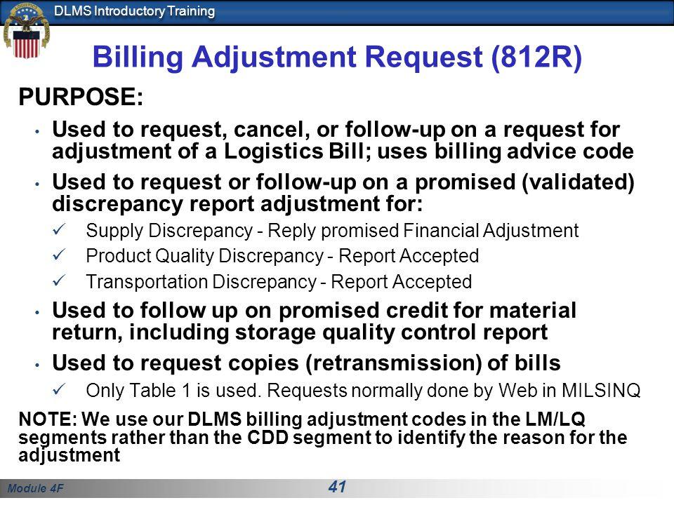 Billing Adjustment Request (812R)