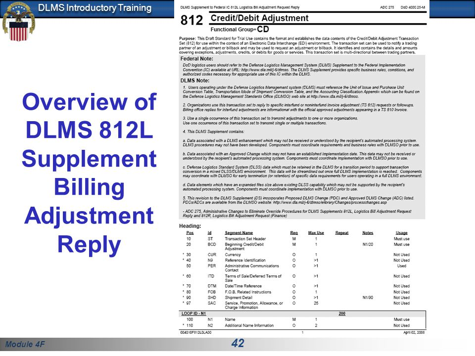 Overview of DLMS 812L Supplement Billing Adjustment Reply