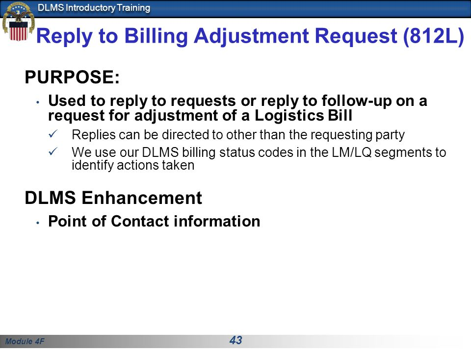 Reply to Billing Adjustment Request (812L)