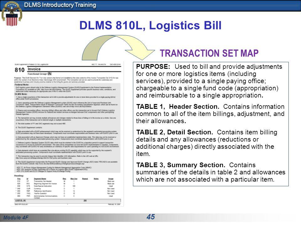 DLMS 810L, Logistics Bill TRANSACTION SET MAP