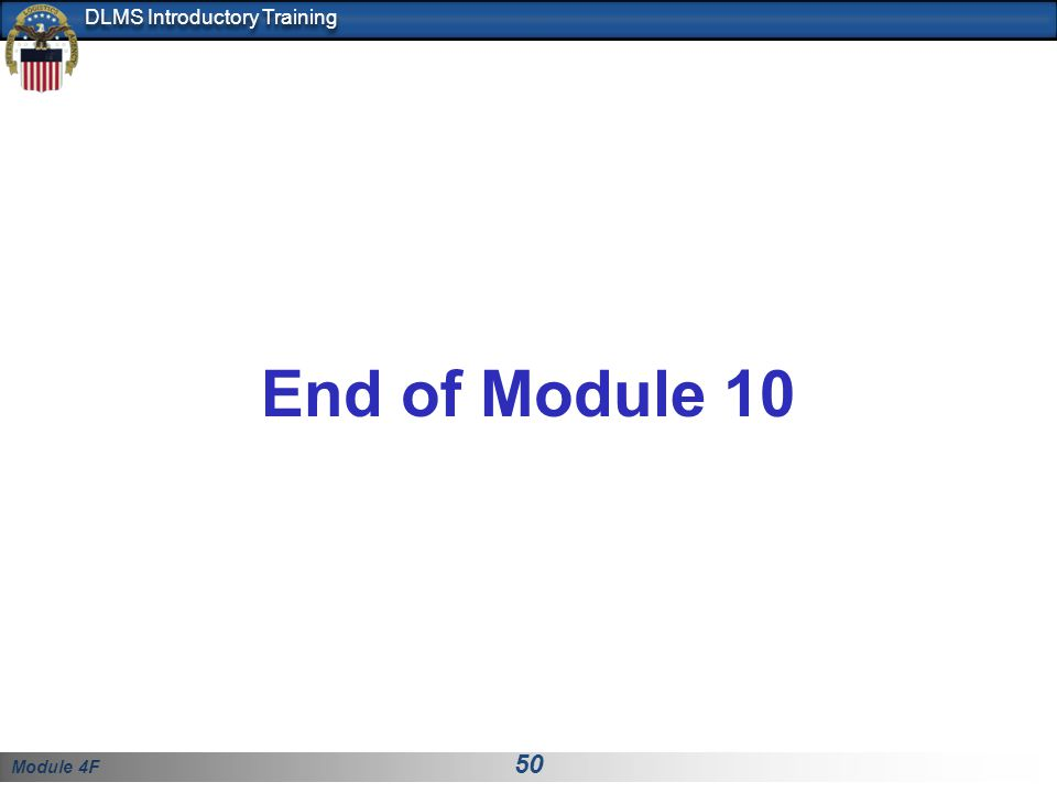 End of Module 10