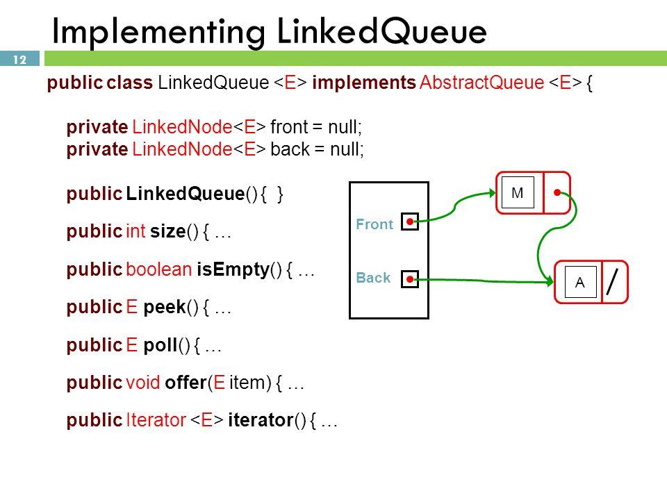Implementing LinkedQueue