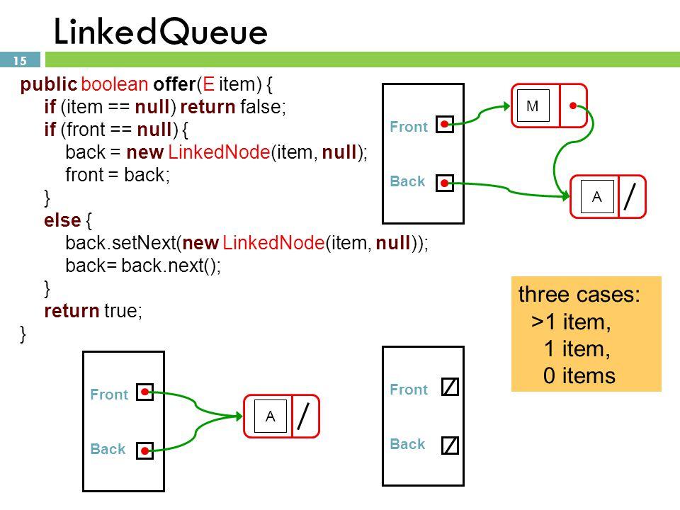 LinkedQueue three cases: >1 item, 1 item, 0 items