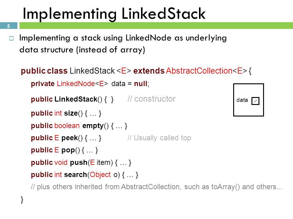 Implementing LinkedStack