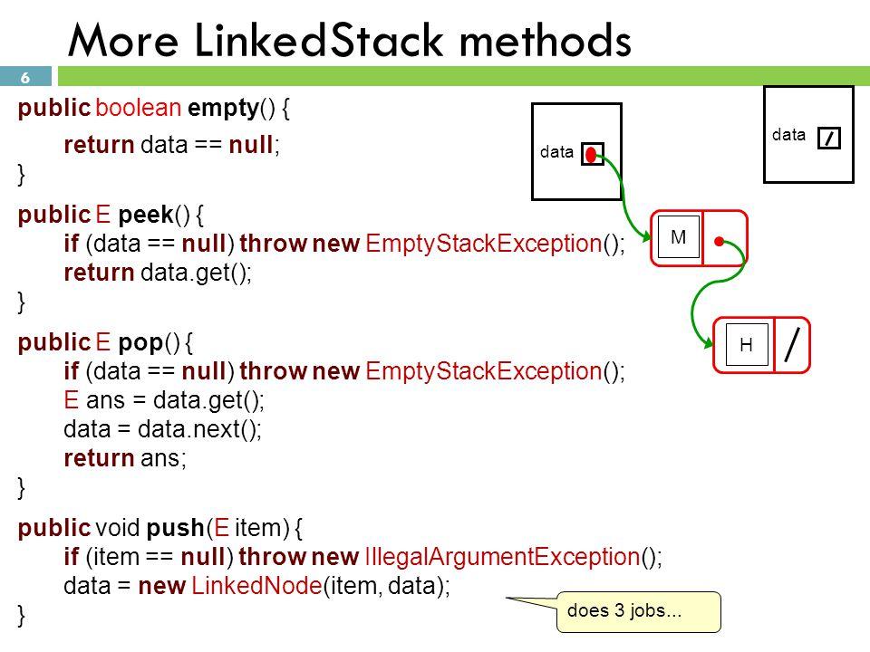 More LinkedStack methods