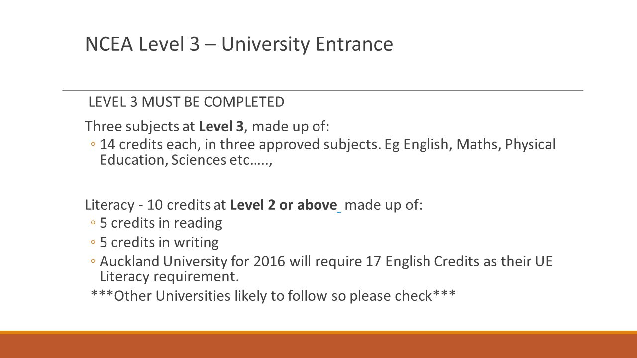 NCEA Level 3 – University Entrance