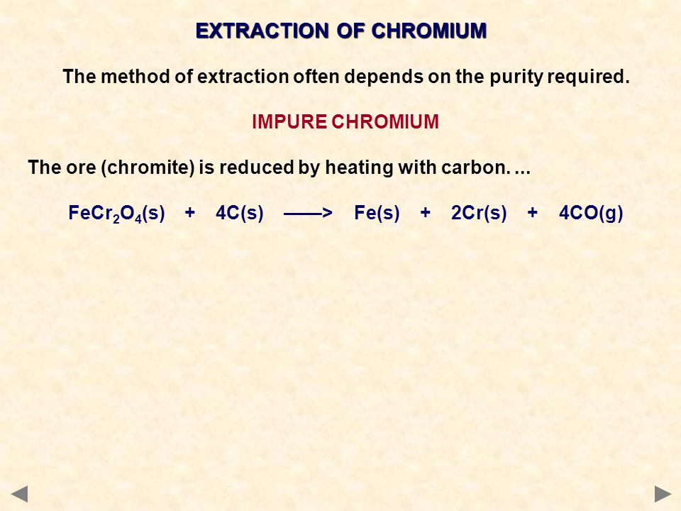 EXTRACTION OF CHROMIUM