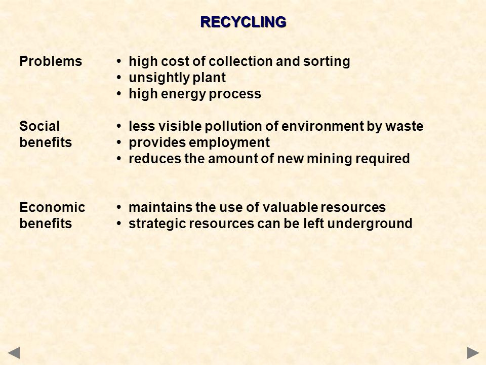 RECYCLING Problems • high cost of collection and sorting
