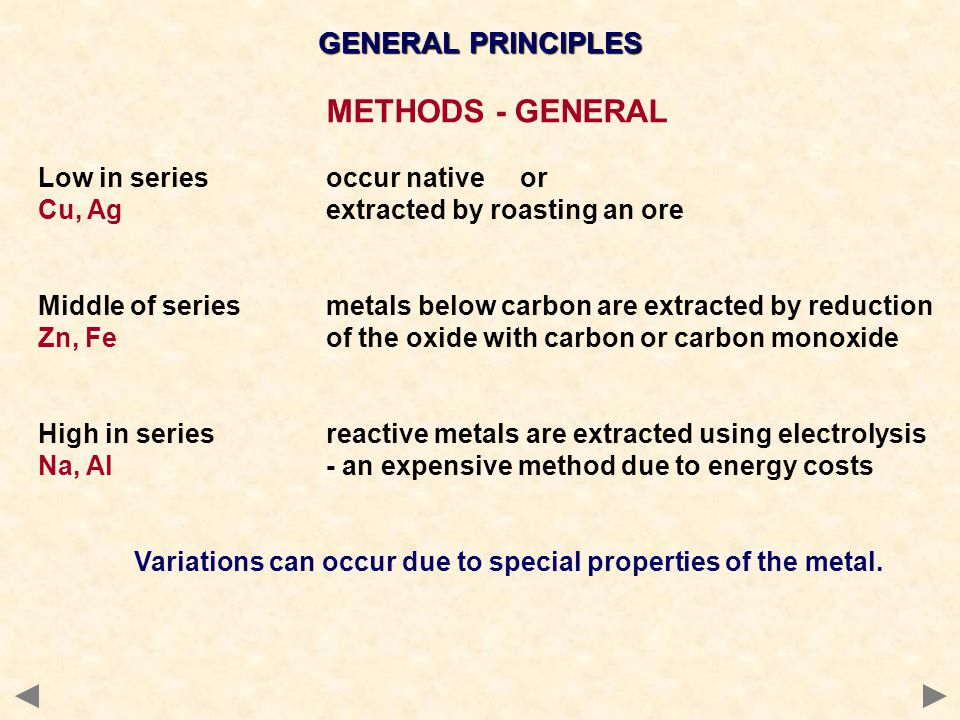 METHODS - GENERAL GENERAL PRINCIPLES Low in series occur native or