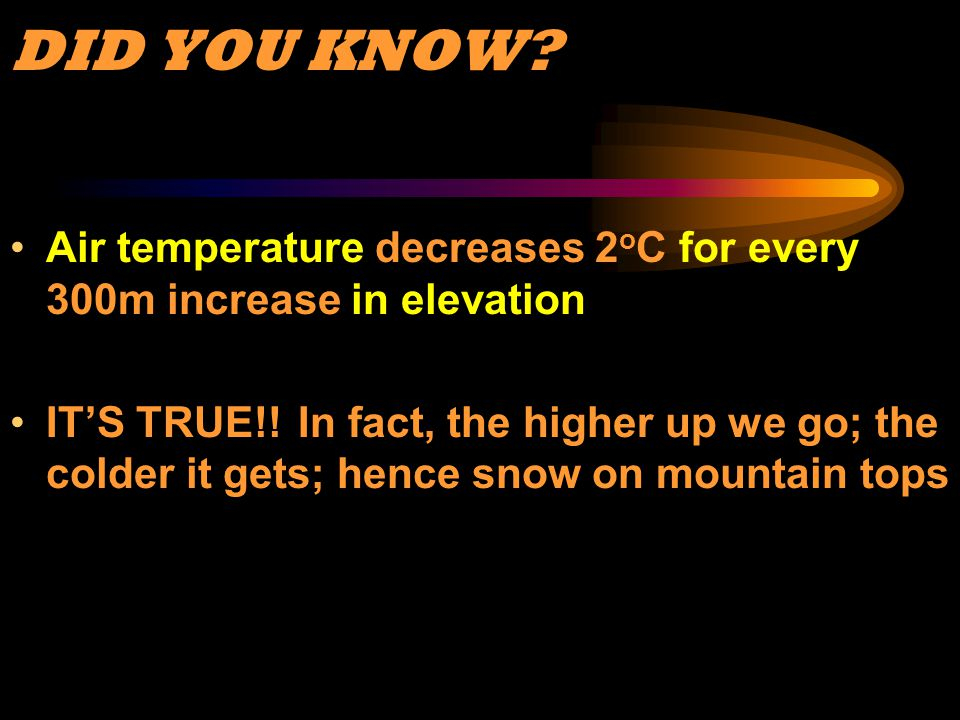 DID YOU KNOW Air temperature decreases 2oC for every 300m increase in elevation.