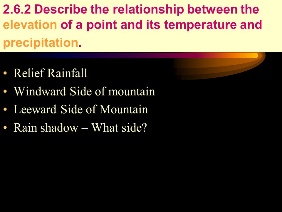 2.6.2 Describe the relationship between the elevation of a point and its temperature and precipitation.