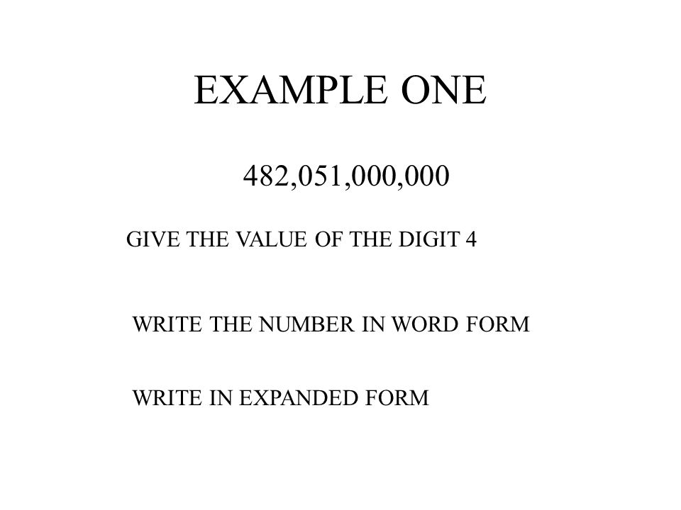 EXAMPLE ONE 482,051,000,000 GIVE THE VALUE OF THE DIGIT 4