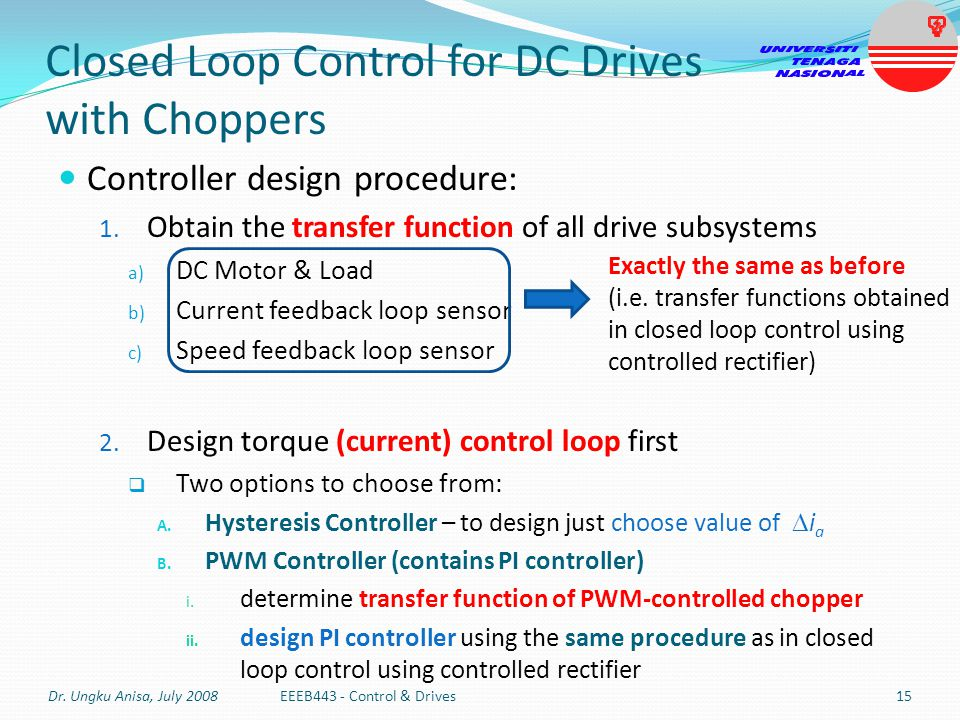 Closed Loop Control for DC Drives with Choppers