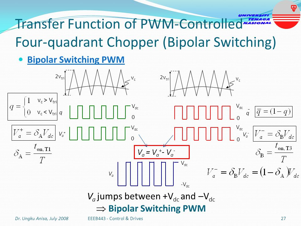 Transfer Function of PWM-Controlled Four-quadrant Chopper (Bipolar Switching)