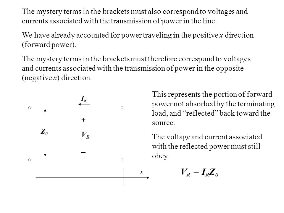 The mystery terms in the brackets must also correspond to voltages and currents associated with the transmission of power in the line.