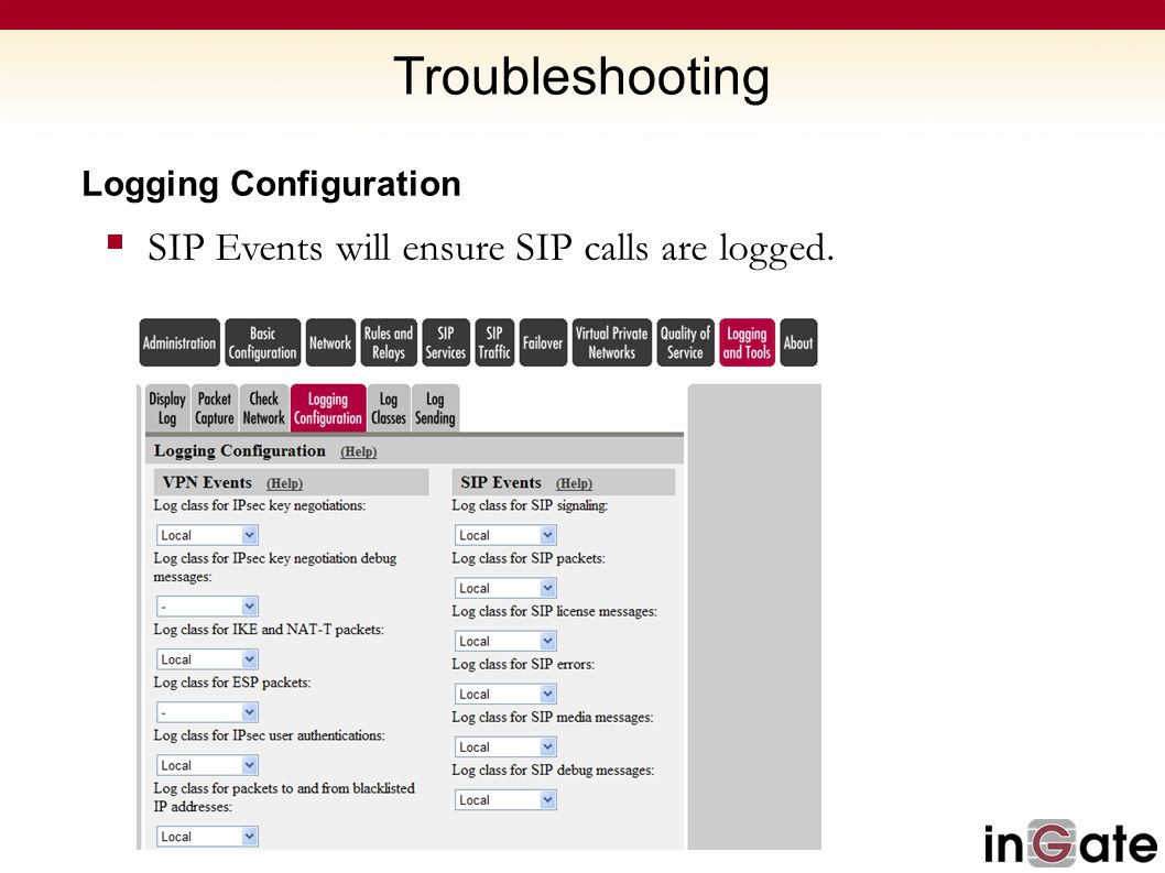 Troubleshooting SIP Events will ensure SIP calls are logged.