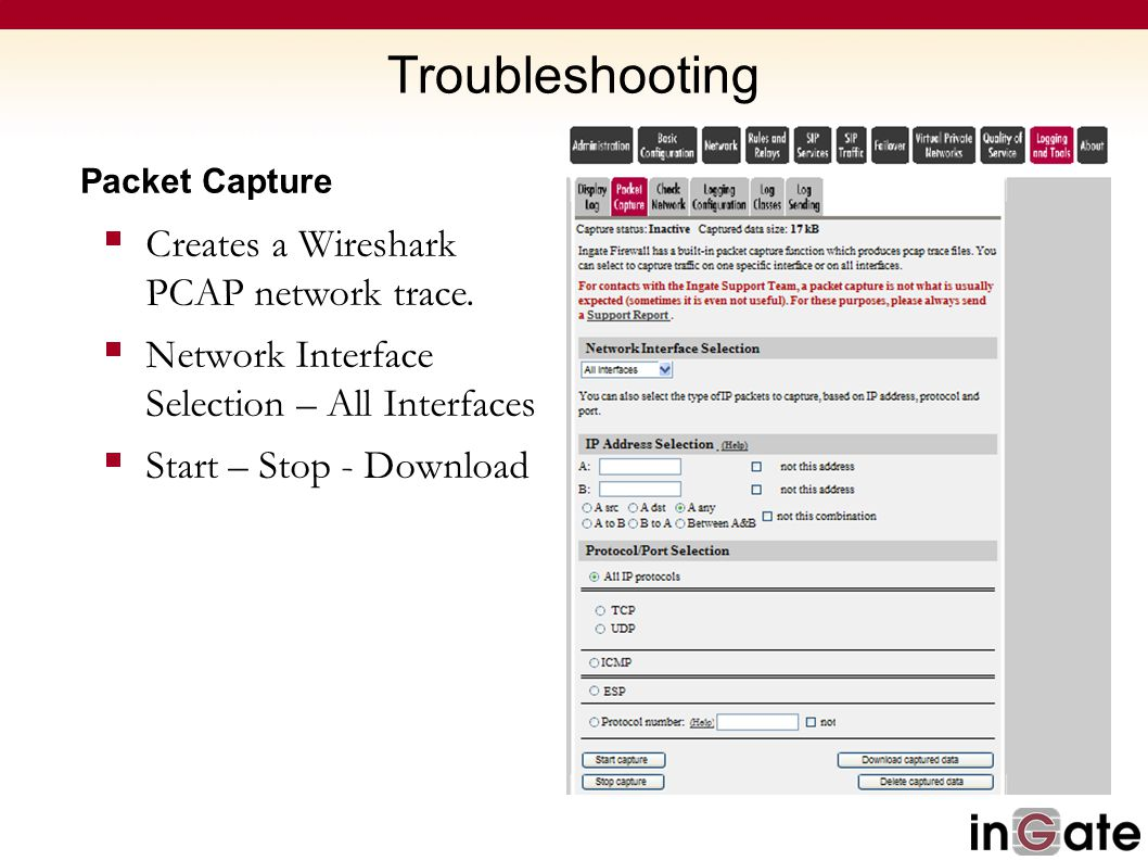 Troubleshooting Creates a Wireshark PCAP network trace.