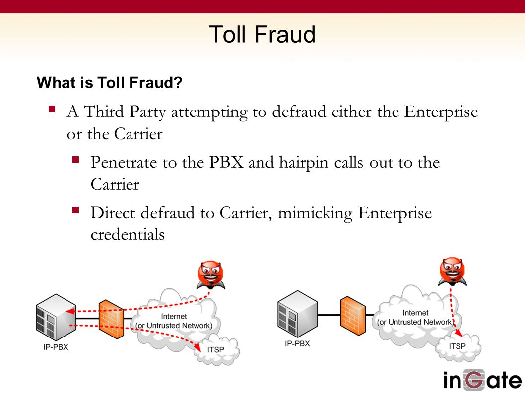 Toll Fraud What is Toll Fraud A Third Party attempting to defraud either the Enterprise or the Carrier.